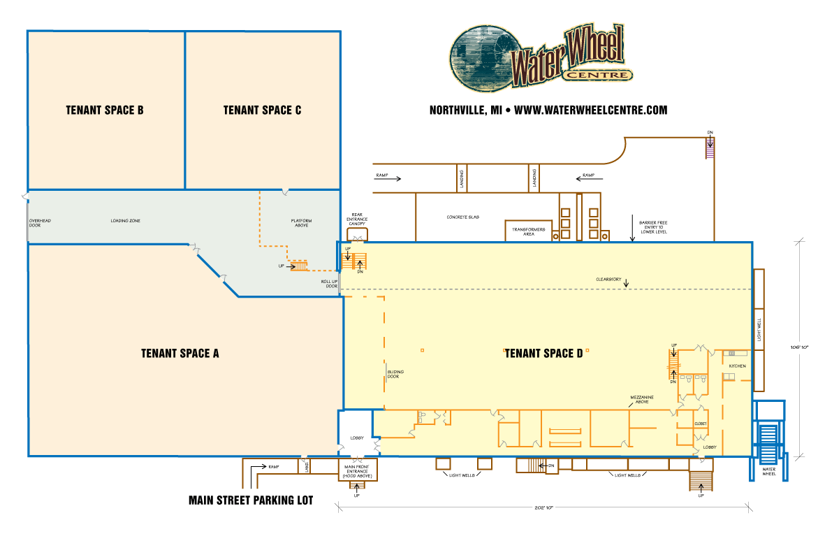 Floor Plan of Lease Space at Water Wheel Centre in Northville, MI